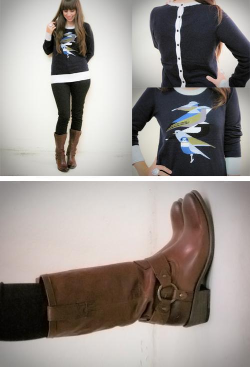 boots birds buttons