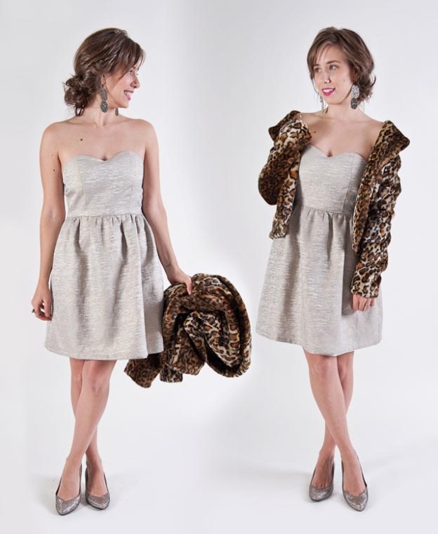 strapless gold dress