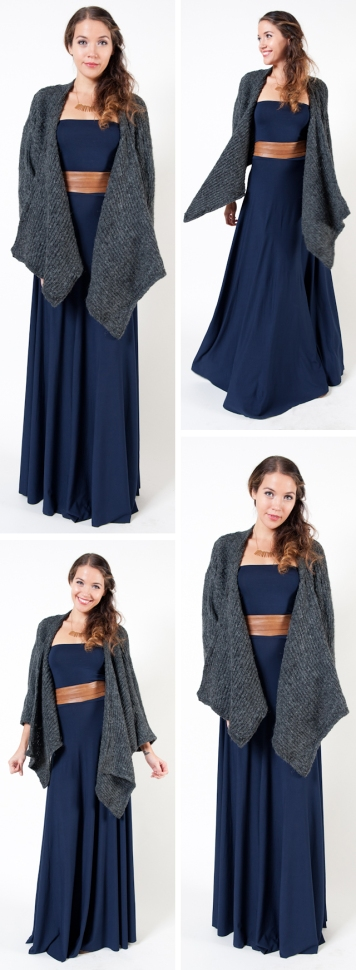 strapless navy butter by nadia convertible maxi dress