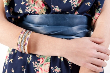 blue ADA wrap belt and floral fabric bangles