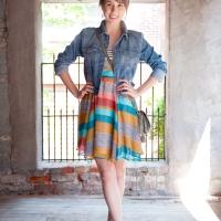 Earthy Striped Skater Dress
