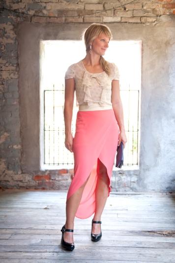 pink tulip maxi skirt