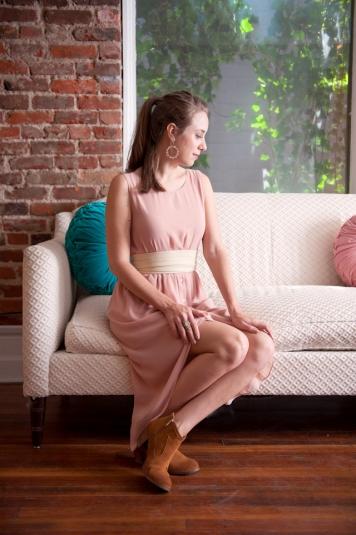 pink hi-lo chiffon dress by pinky otto