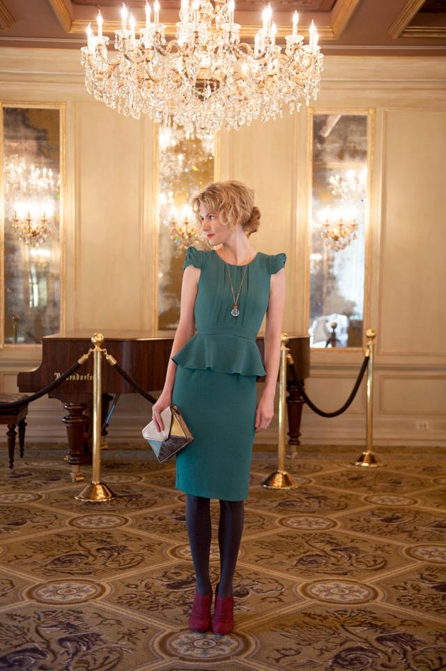 Peplum Dress in Jade by Ruby Belle
