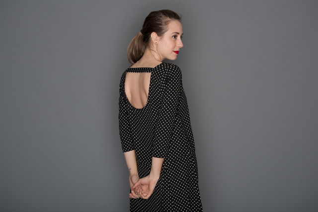 cut-out back polka dot dress by Everly