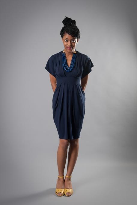 nadia tarr navy pleated dress