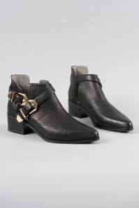 Wave City Cut-Out Booties in Black Leather