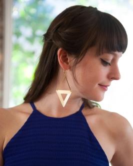 Brass Triangle Earrings by Seven Swans