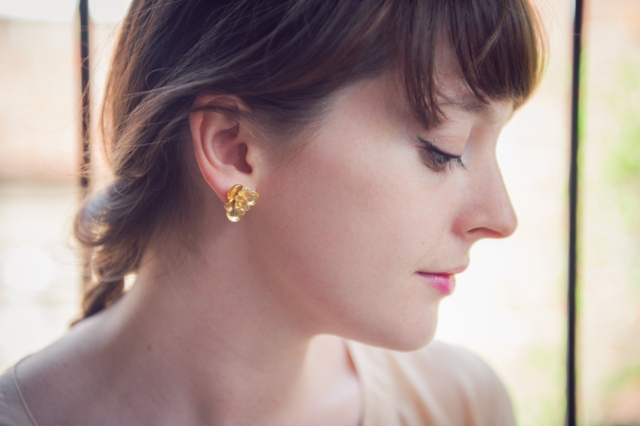 Floral Studs in Gold Vermeil by Mani Designs