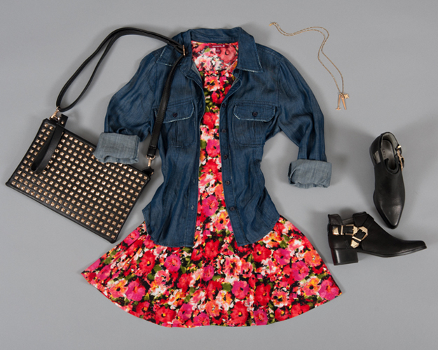 Floral and Denim with Leather