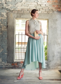 Hi-low Midi Skirt in Mint