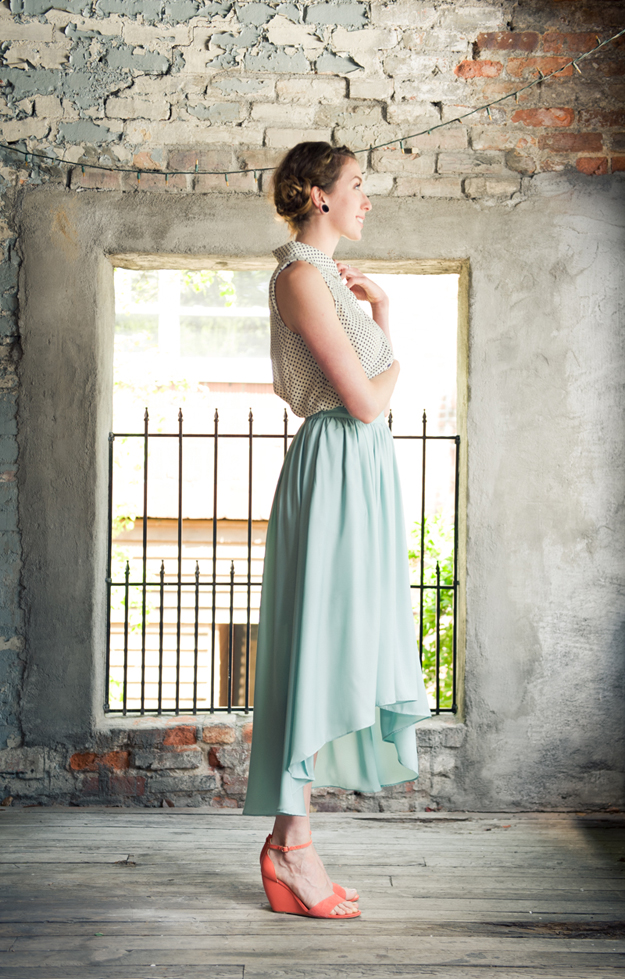 Hi-low Midi Skirt in Mint