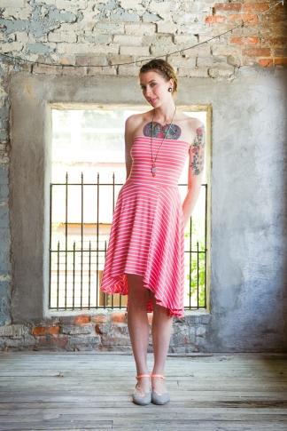 Multi-way Hi-low dress in Coral Stripe