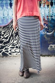 Braided Belt Jersey Dress in Nautical Stripe