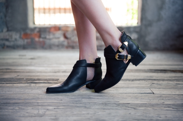 Grey City Cut Out Black Boots