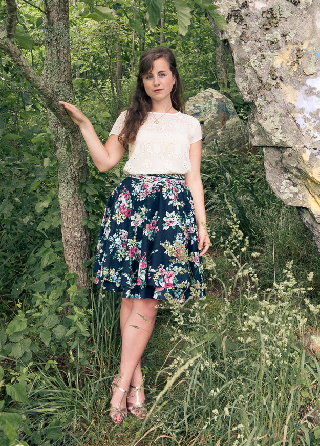 Floral Skirt and Lace Top