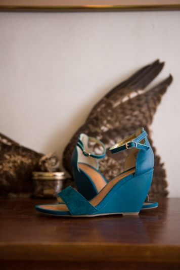 thyme suede wedges in teal