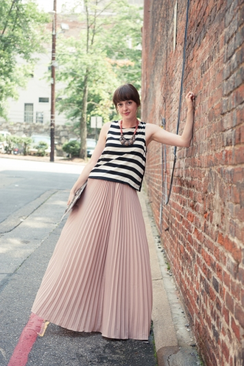 Mauve Chiffon Pleated Maxi Skirt