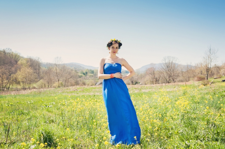 Billie Bustier Maxi Dress in Cobalt