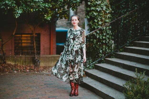 Sheer Maxi Dress, Tall Frye Boots