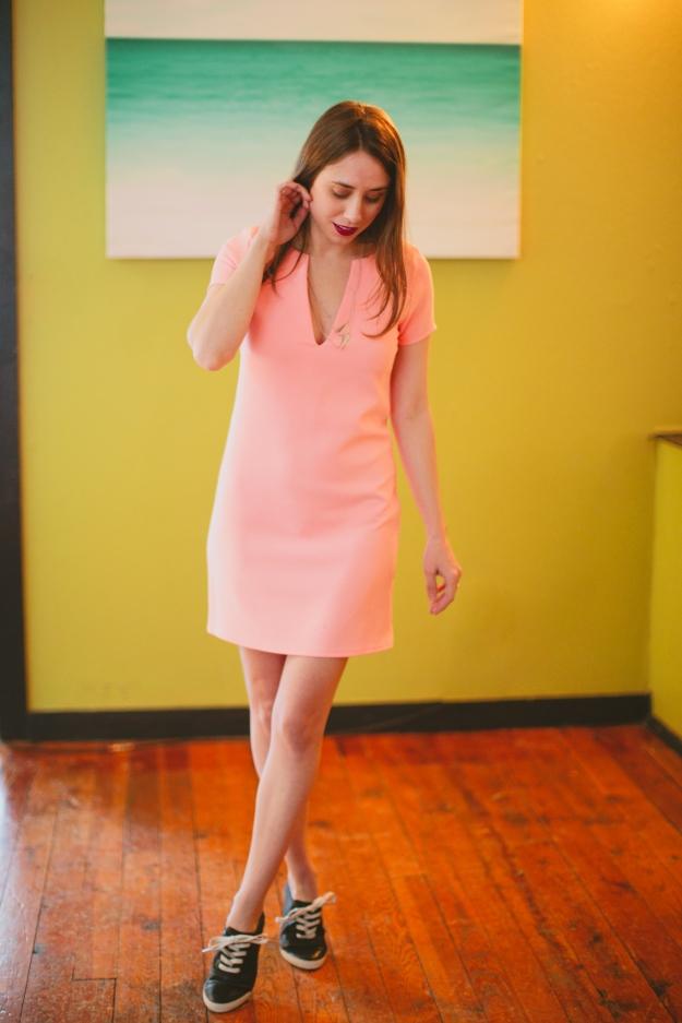 Peach, Neon, Shift Dress