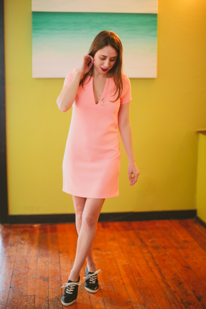 Peach, Neon, Shift Dress