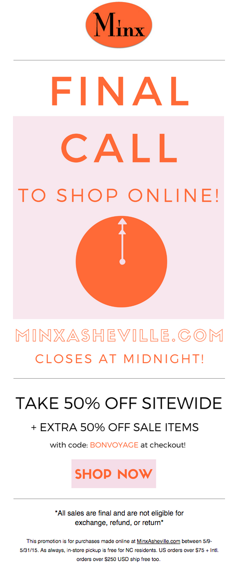 Final Call to Shop online