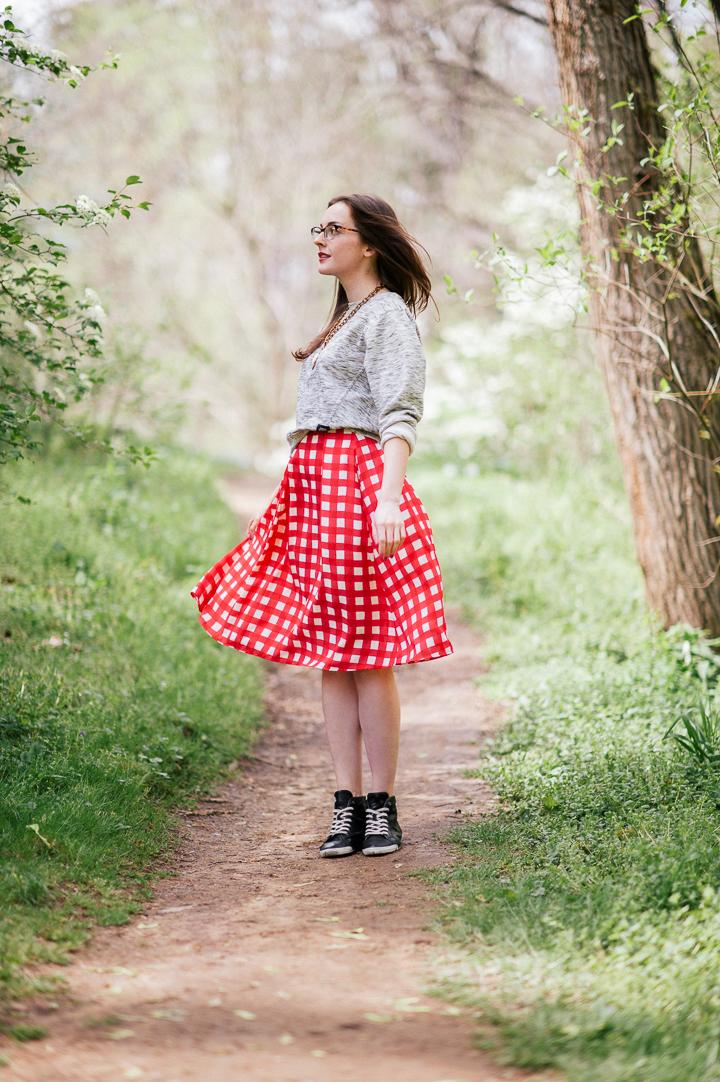 Neon Gingham Skirt