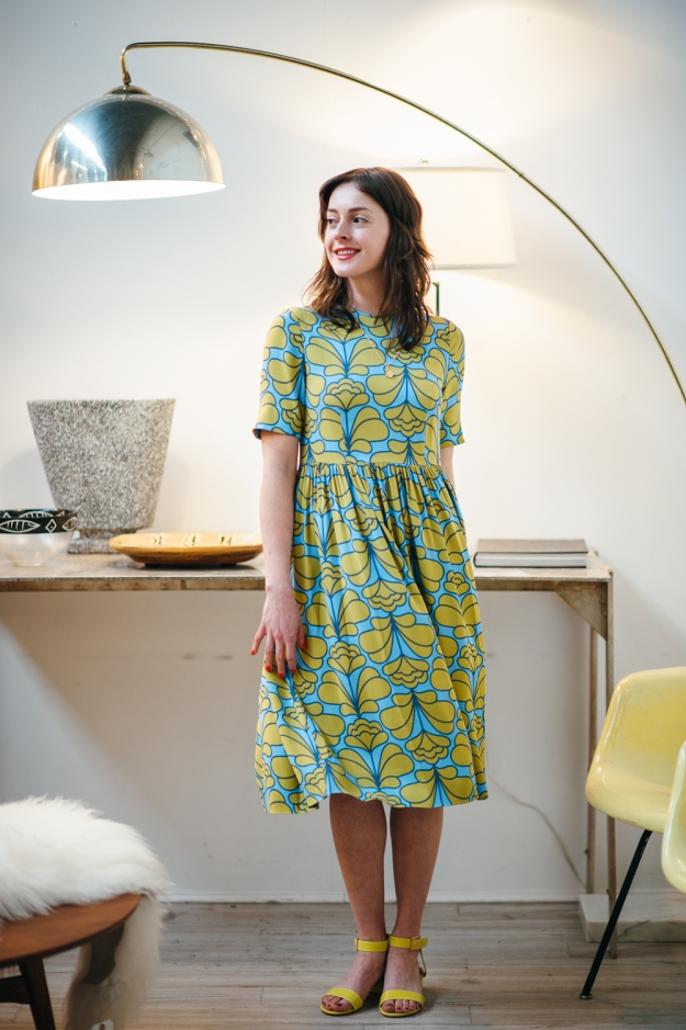 Orla Kiely, Damask Flower, Gathered Midi Dress, Sky, Asheville, Minx Boutique
